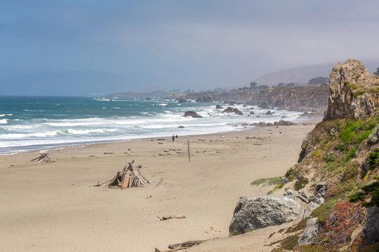 Sandy beach of the Bodega Bay an hour north of San Francisco. Sonoma County in California, USA