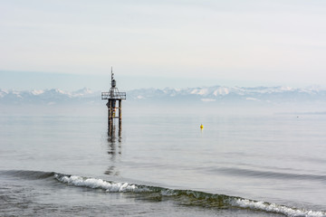 Lake Constance in winter with small waves
