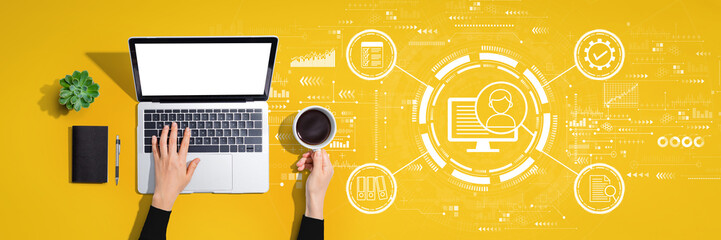 Document management system concept with person using a laptop computer Wall mural