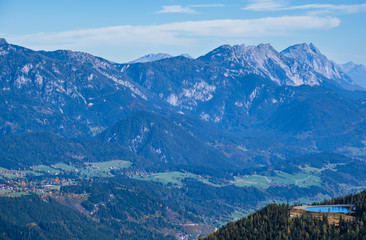Peaceful sunny day autumn Alps mountain view. Reiteralm, Steiermark, Austria.