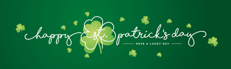 Happy St Patrick's Day handwritten typography lettering line design with clovers green background banner Wall mural