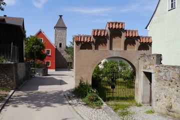 Nabburg Hüllgasse mit Wehrturm und Tor