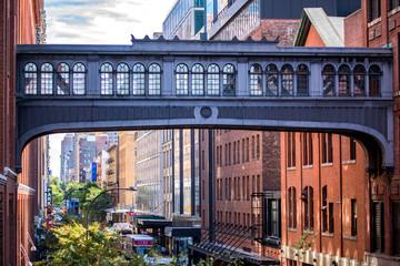 Beautiful Bridge connecting buildings in New York, Highline