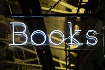 Neon White Books sign on Chelsea Market - New York
