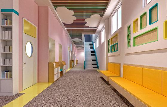 3d render of kindergarten interior