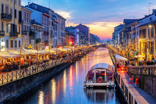 Naviglio Grande canal in Milan, Italy, on sunset