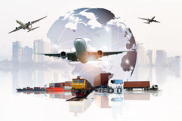 The world logistics  background or transportation Industry or shipping business, Container Cargo  shipment , truck delivery, airplane , import export Concept Wall mural