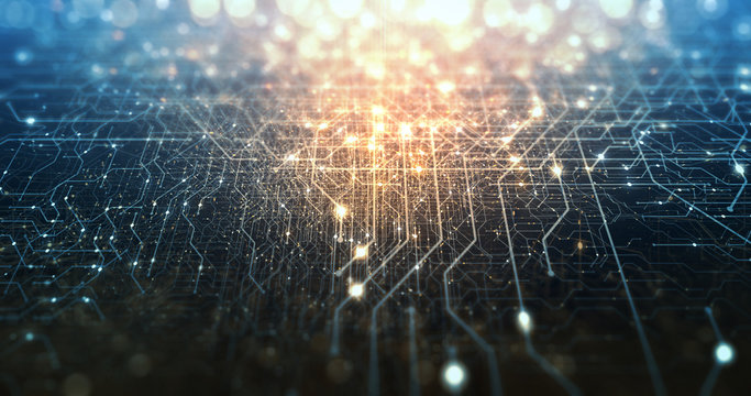 Abstract tech background made of printed circuit board. Depth of field effect and bokeh. internet connections, cloud computing and neural network, big data. 3D render
