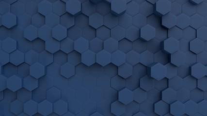 Fotobehang - Abstract 3D Technology Navy Blue Hexagonal Tiles Background