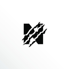 Initial Letter N with Claw Scratch Logo Design