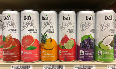Alameda, CA - October 08, 2018: Grocery store shelf with cans of Bai brand sparkling flavored water in various flavors.