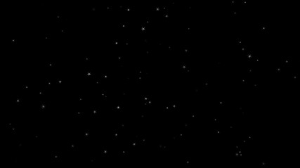 Star falling from sky top. Stardust isolated black background for motion graphics composing element. Random size turbulance in air storm. Isolated  starry dust. 4K VFX footage video. Seamless loop