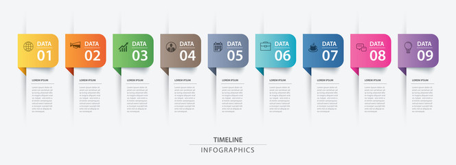 Fototapeta 9 data infographics tab paper index template. Vector illustration abstract background. Can be used for workflow layout, business step, banner, web design.