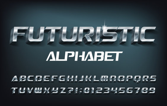 Futuristic alphabet font. 3D chrome letters and numbers with shadow. Stock vector for your typography design.