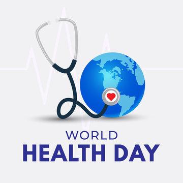 World Health Day poster. Globe and stethoscope illustration