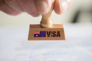 Ein Stempel und das Visums für Einreise nach Australien