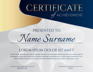 Blue and Gold Certificate Design