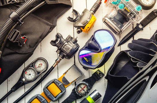 Full set of scuba diving equipment Fins, Regulator/Octopus, Depth Gauge, Balanced Regulator,Power Inflator, Dive Mask and Snorkel , aqualung. Scuba gear and accessories.