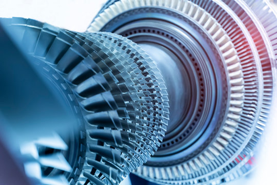 Jet engine, internal structure with hydraulic, aircraft and aerospace industry