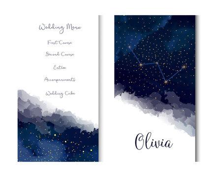 Magic night dark blue sky with sparkling stars vector vertical banner