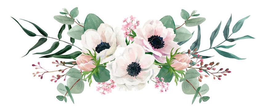 Watercolor floral arrangement, hand drawn vector image