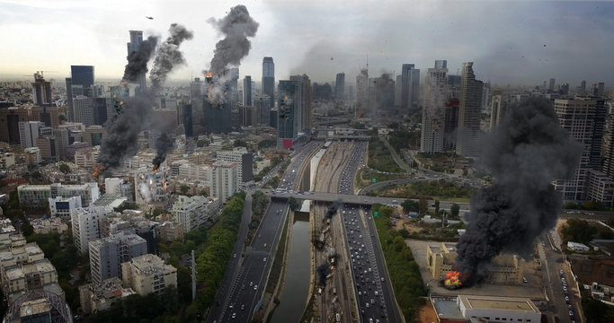Tel Aviv City Under attack in war aerial view Illustration Powerful Image Compositing Real drone Image with visual effects elements, of Israel Tel aviv city under attack With  smoke and Destroyed buil
