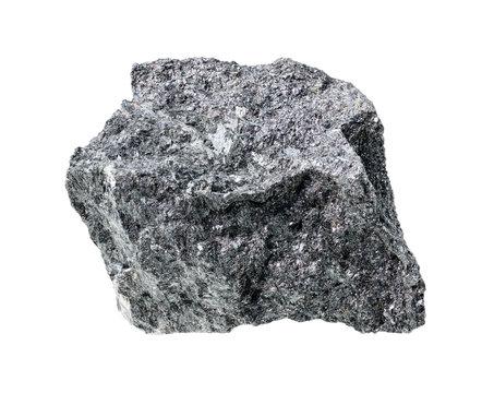 rough magnetite (iron ore) cutout on white
