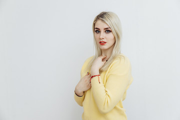 Young woman posing after eyebrows permanent makeup