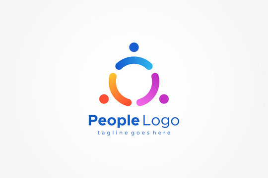 Triangle Rounded People Logo. Flat Vector Logo Design Template Element