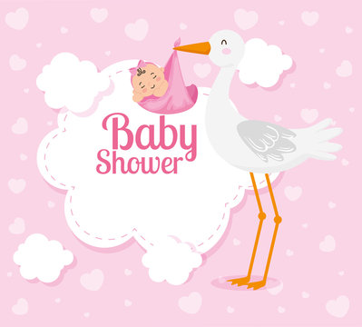 baby shower card with cute stork and decoration vector illustration design