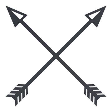 Vector Black Silhouette Medieval Icon of Crossed Arrows