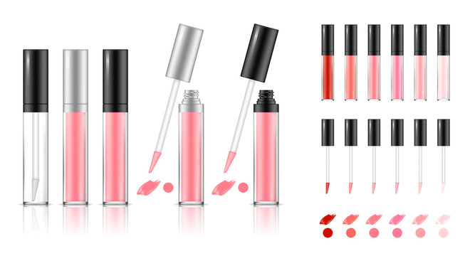 Collection of lipstick tubes with different color shade. Colorful lip gloss smudges. Makeup cosmetic product package. Vector illustration.
