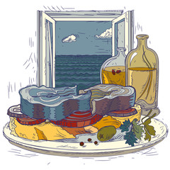 Drawn sandwich with sea fish on a plate, against the background of an open window with a seascape.