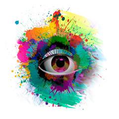 set of colorful eyes
