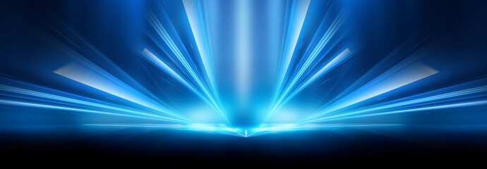 Fotomurales - Abstract blue furutic background. Rays and lines, symmetrical reflection, blue neon. Abstract empty scene with beams and light of spotlights.