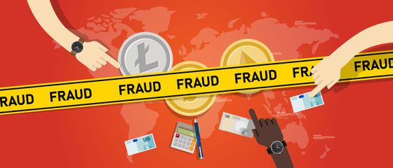 Cryptocurrency fraud investment scam. Crypto digital money transaction with safety risk