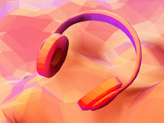 3D polygonal headphones on low poly landscape background. Abstract visualization of digital sound and modern music. Low poly vector illustration of online music listening and internet radio streaming.