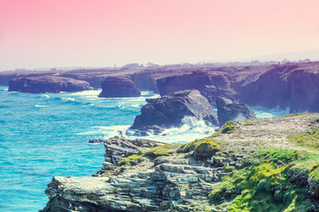 Fototapete - View of ocean and rocky coast. Galicia, Spain.