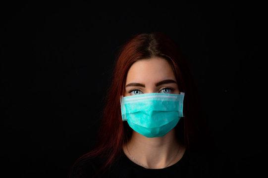 Frau jung hübsch mit atemschutzmaske virus corona coronavirus grippe schutz maske china