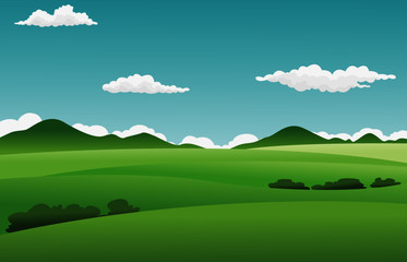 Foto op Plexiglas Groene Vector illustration of summer fields landscape with a dawn, green hills, bright color blue sky and cloud, country background in vector