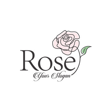 rose vector logo design template, minimal line petal beauty icon, salon floral abstract sign, vector illustration
