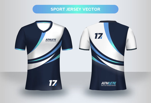Football Jsersey design template. Soccer club uniform T-shirt front and back view.