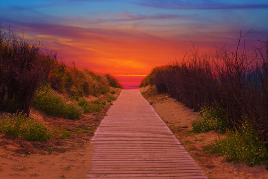 Wooden path to the beach between the sand dunes at sutset