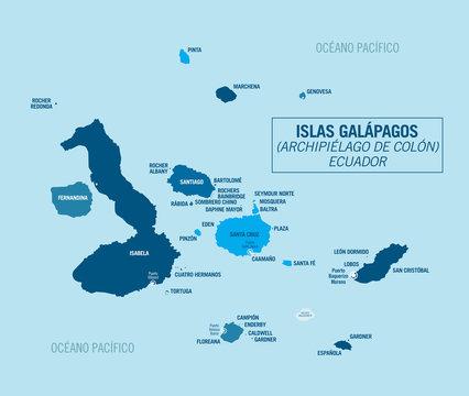 Galapagos Islands. Ecuador. Political vector map.