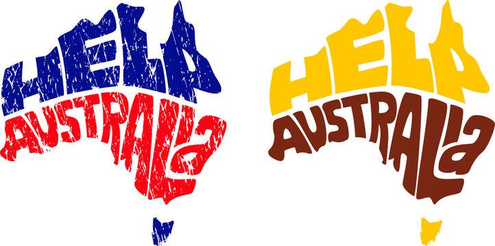 Help Australia in Australian map shape. Grunge texture.
