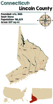 Large and detailed map of Lincoln county in Connecticut, USA.