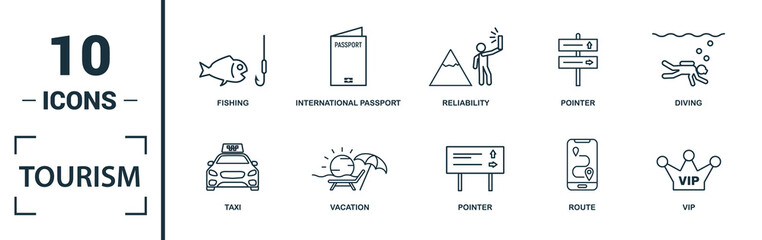 Tourism icon set. Include creative elements visa, international passport, photographing, exhibit, taxi icons. Can be used for report, presentation, diagram, web design Wall mural