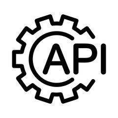 API with gear icon. Linear template for software logo. Black simple illustration. Contour isolated vector image on white background