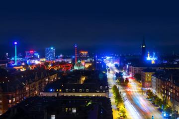 Printed kitchen splashbacks Buenos Aires Aerial view of city center at night in Copenhagen, Denmark with car traffic
