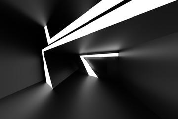 Fotobehang - Abstract Interior Design. Black Futuristic Architecture Background. Unusual Building Construction